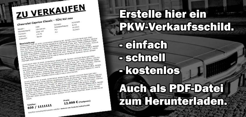 Kostenloses Auto/PKW-Verkaufsschild zum Ausdrucken